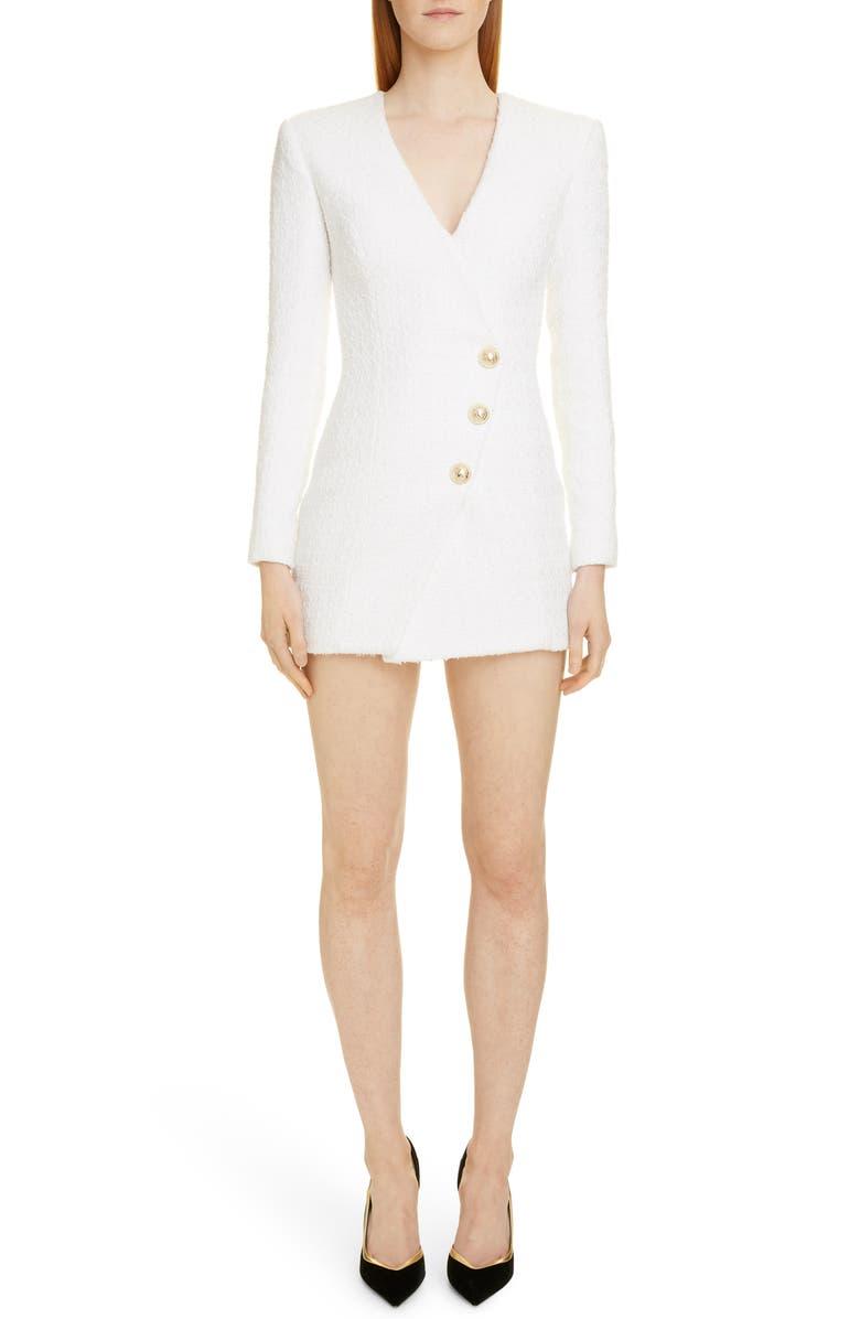BALMAIN Long Sleeve Tweed Minidress, Main, color, BLANC