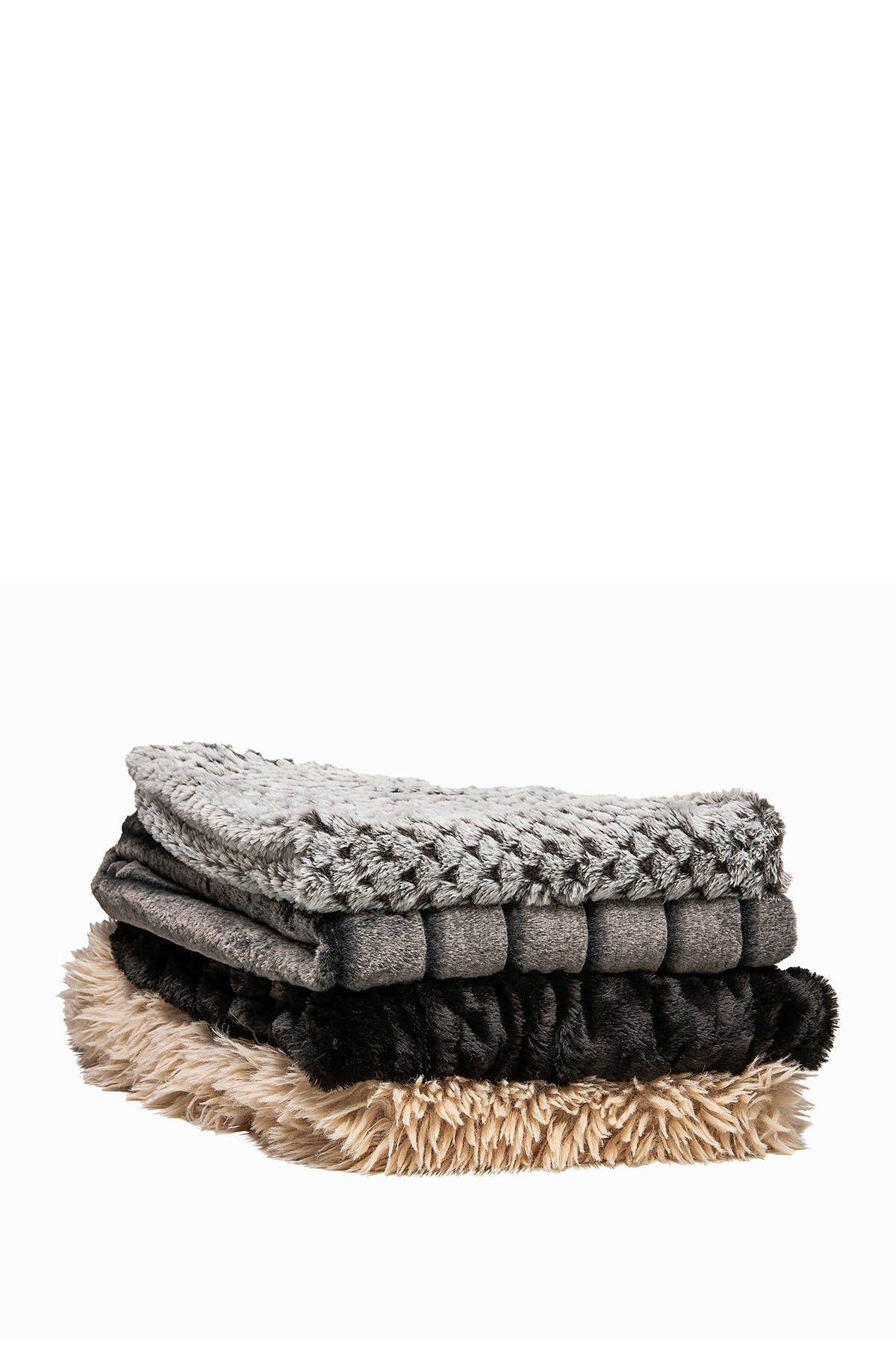 """Image of LUXE Faux Fur Throw - 50"""" x 60"""" - Black"""
