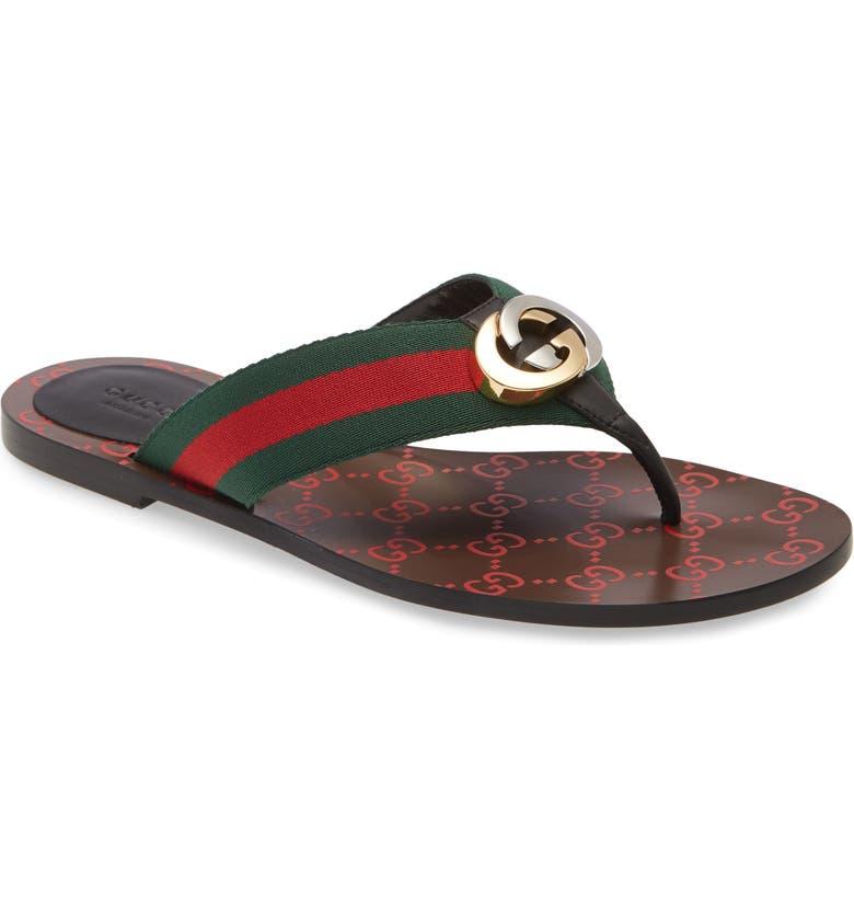 GUCCI Kika GG Web Flip Flop, Main, color, GREEN/RED/BLACK