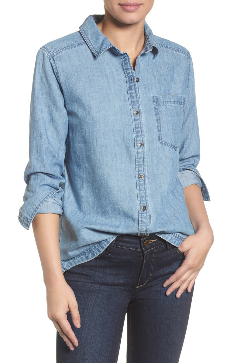 CASLON<SUP>®</SUP> Button Front Chambray Shirt, Main, color, CHAMBRAY