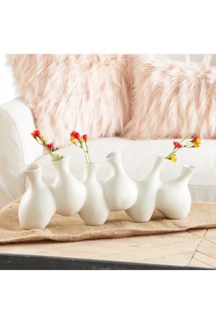 Image of CosmoLiving by Cosmopolitan Large Modern White Ceramic 6-Vase Cluster