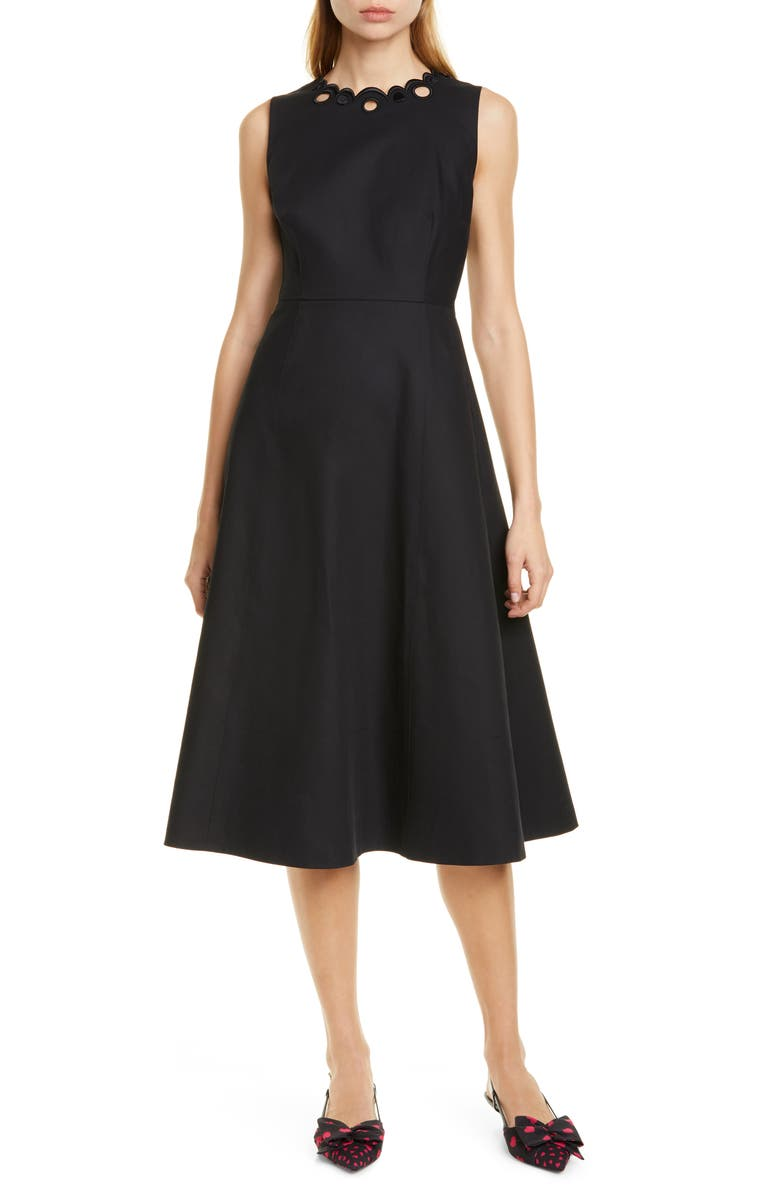 KATE SPADE NEW YORK scallop neck cotton fit & flare dress, Main, color, 001