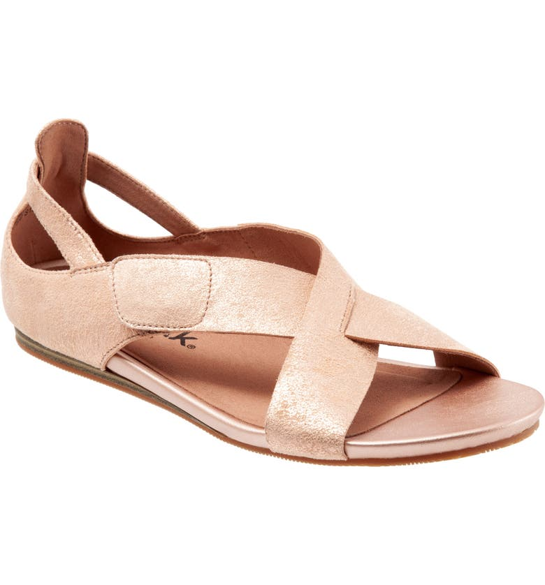 SOFTWALK<SUP>®</SUP> Camilla Cross Strap Sandal, Main, color, ROSE GOLD LEATHER