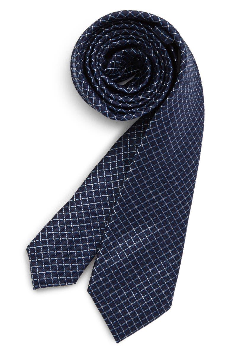 NORDSTROM Mark Neat Geo Silk Tie, Main, color, BLUE