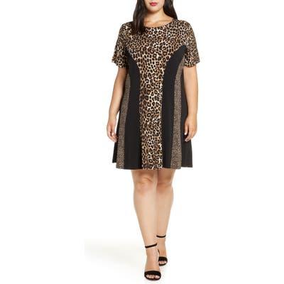 Plus Size Michael Michael Kors Cheetah Combo Dress, Brown