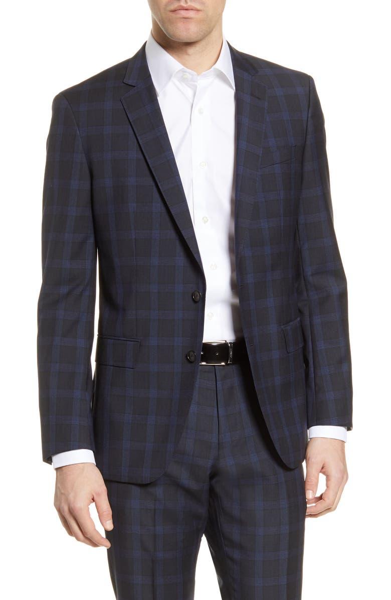 BOSS Huge Trim Fit Plaid Wool Sport Coat, Main, color, DARK BLUE