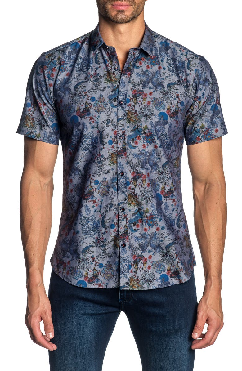 JARED LANG Slim Fit Print Sport Shirt, Main, color, 020