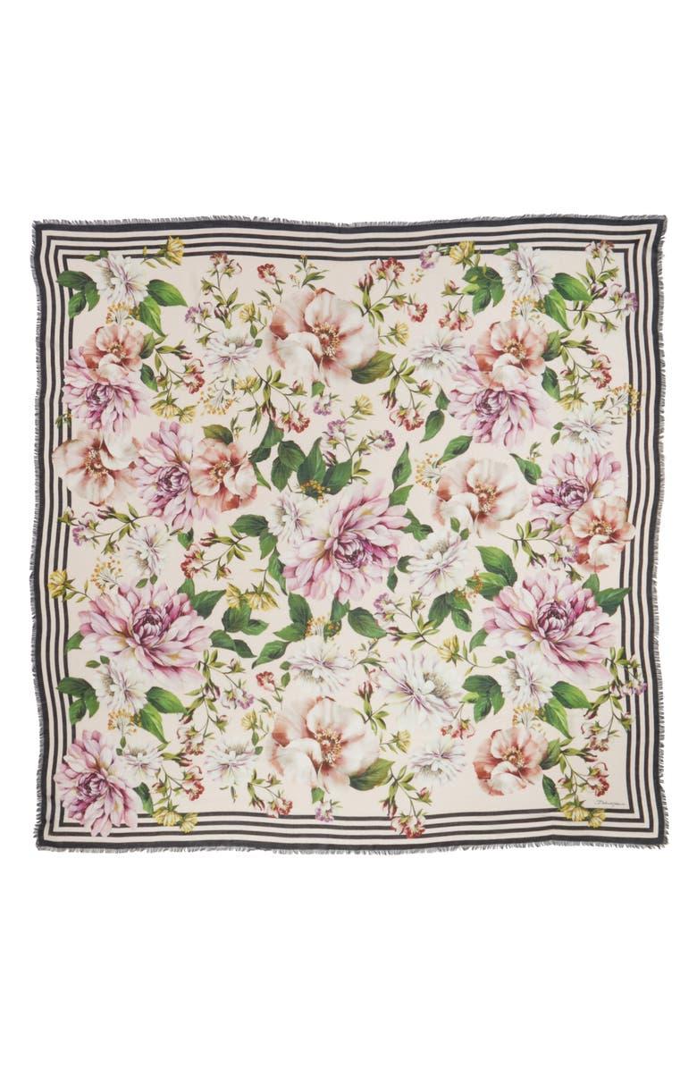 DOLCE&GABBANA Floral Print Modal & Cashmere Scarf, Main, color, HF1AJ PINK FLORAL