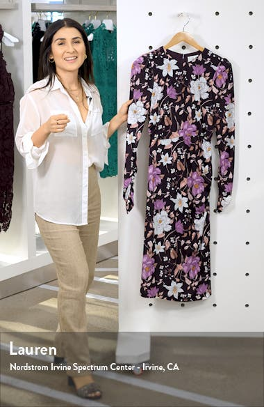 Floral Long Sleeve Body-Con Midi Dress, sales video thumbnail
