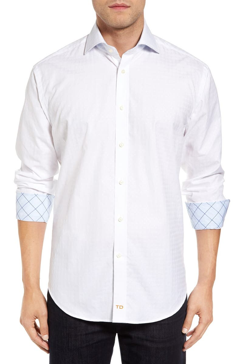 THOMAS DEAN Classic Fit Jacquard Sport Shirt, Main, color, 100