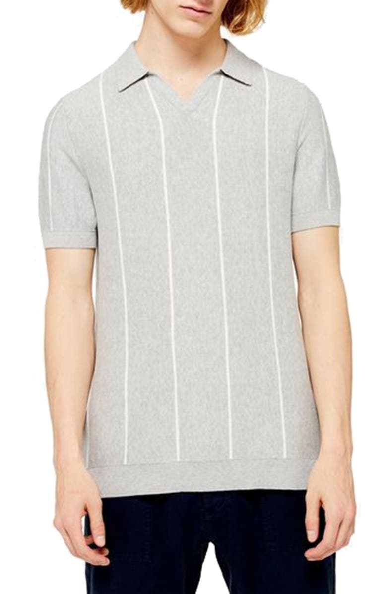 TOPMAN Stripe Polo Sweater, Main, color, GREY MULTI