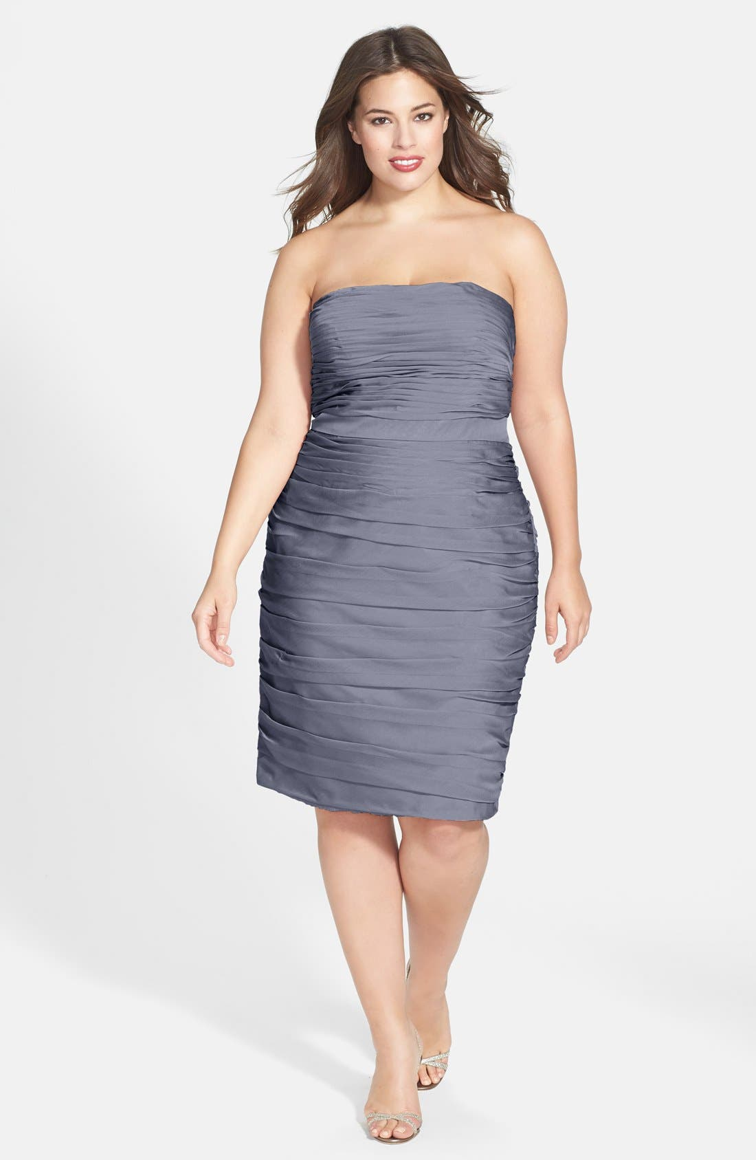,                             Ruched Strapless Cationic Chiffon Dress,                             Alternate thumbnail 14, color,                             022