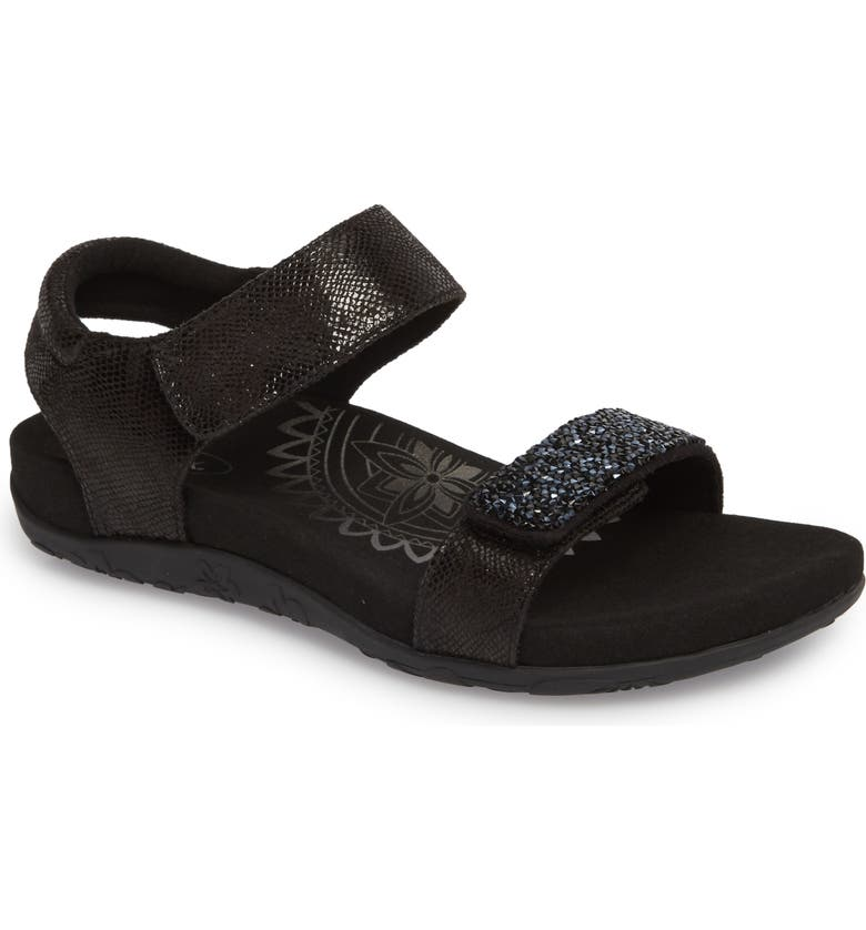 AETREX Maria Embellished Sandal, Main, color, BLACK LEATHER