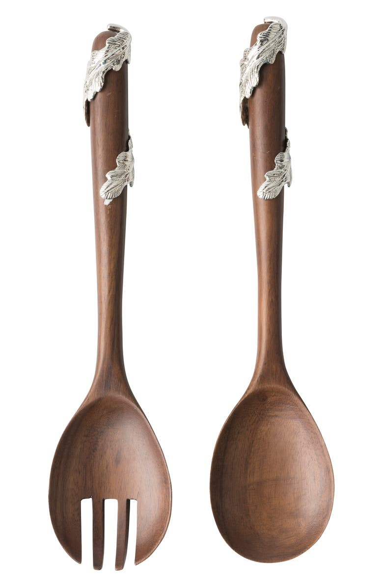 JULISKA Merriam Acacia Wood Salad Servers, Main, color, WOOD/ METAL