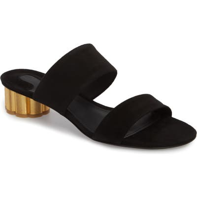 Salvatore Ferragamo Belluno Double Band Slide Sandal, Black