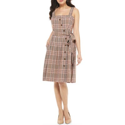 Gal Meets Glam Collection Madison Plaid Button Front Sundress, Brown