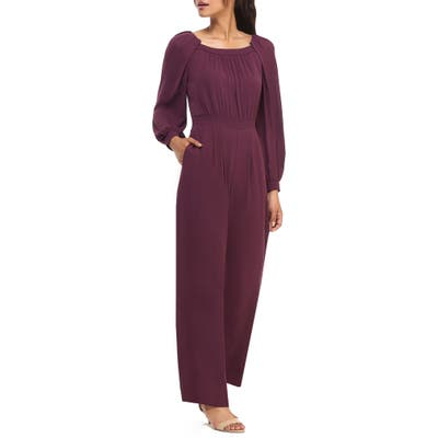 Gal Meets Glam Collection Cheyenne Long Sleeve Crepe Jumpsuit, Purple