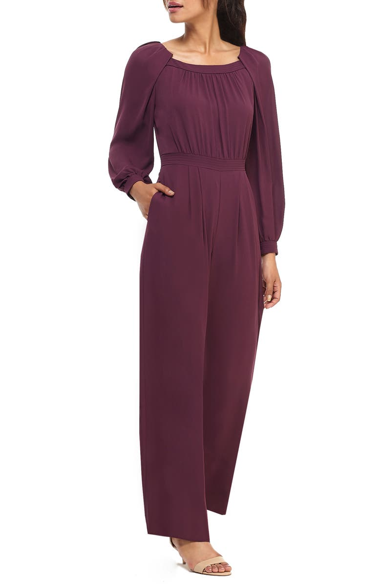 GAL MEETS GLAM COLLECTION Cheyenne Long Sleeve Crepe Jumpsuit, Main, color, PLUM