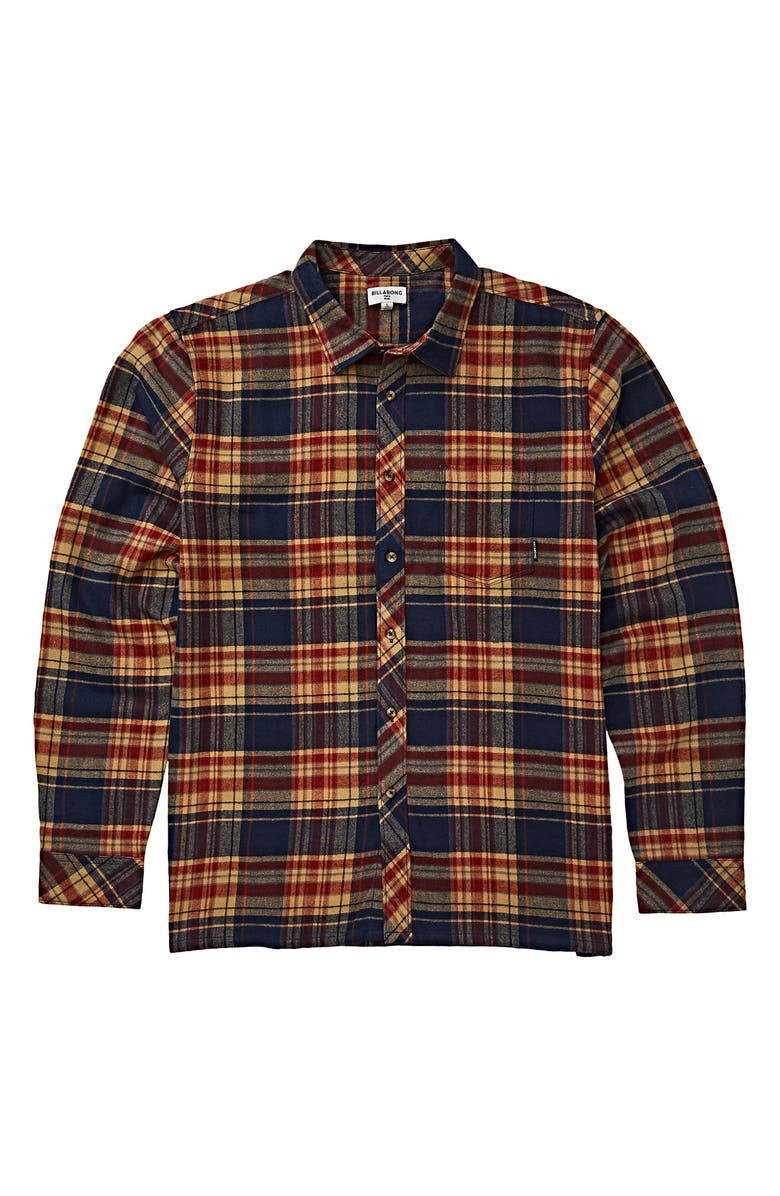BILLABONG Coastline Plaid Flannel Shirt, Main, color, NAVY