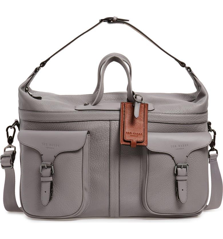 TED BAKER LONDON Gansu Leather Holdall Bag, Main, color, GREY