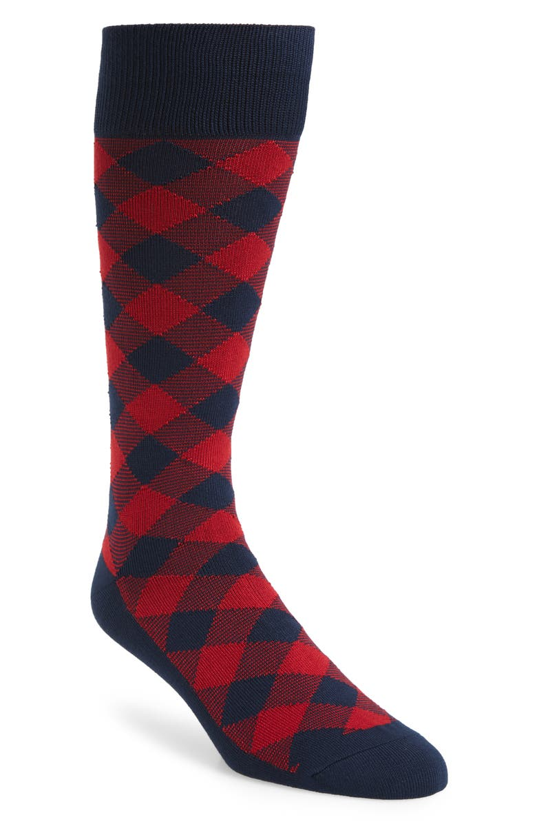 NORDSTROM MEN'S SHOP Ultrasoft Buffalo Check Socks, Main, color, NAVY/ RED