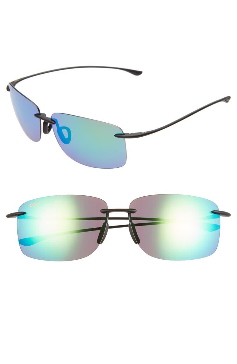 MAUI JIM Hema 62mm PolarizedPlus2<sup>®</sup> Oversize Rimless Sunglasses, Main, color, MATTE BLACK
