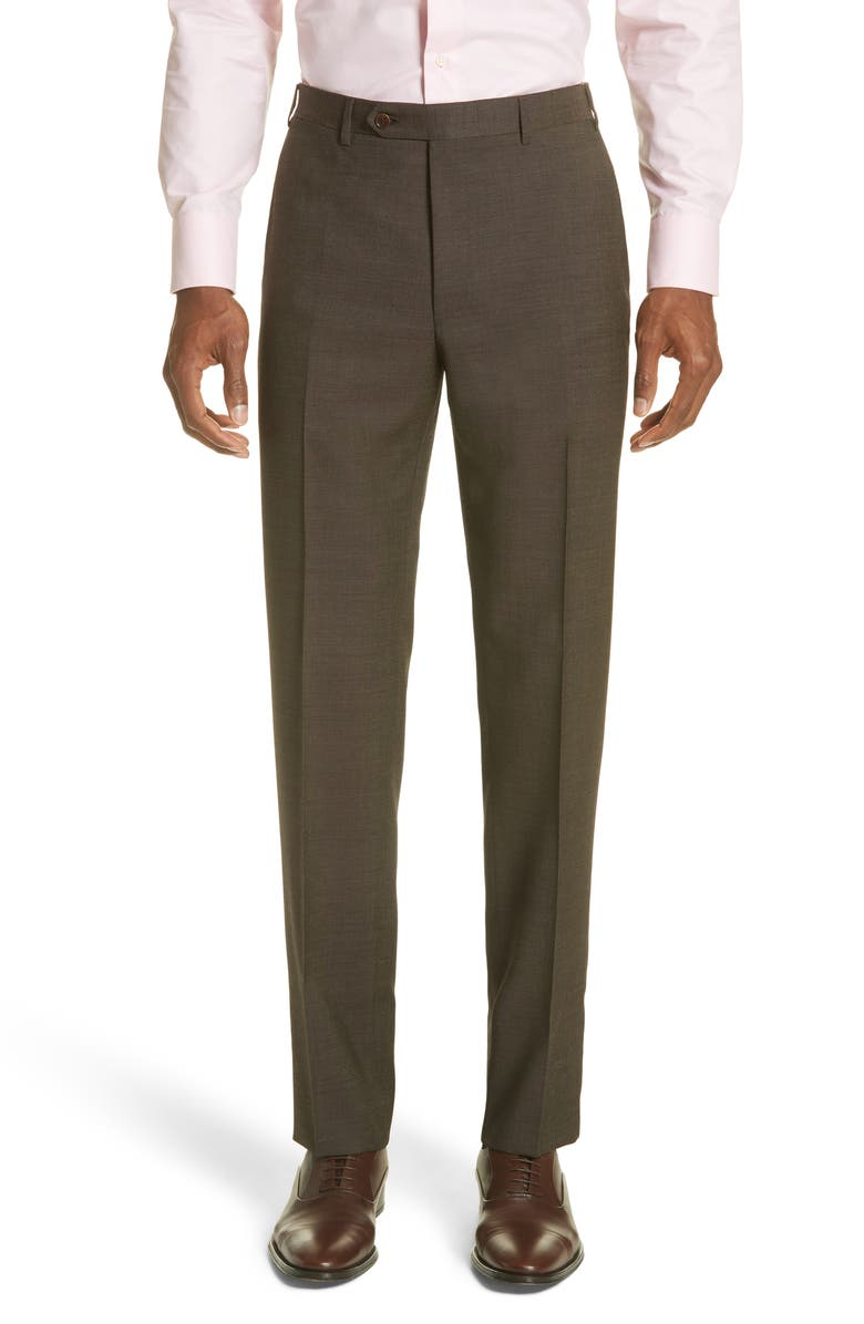 CANALI Flat Front Dot Wool Dress Pants, Main, color, BROWN
