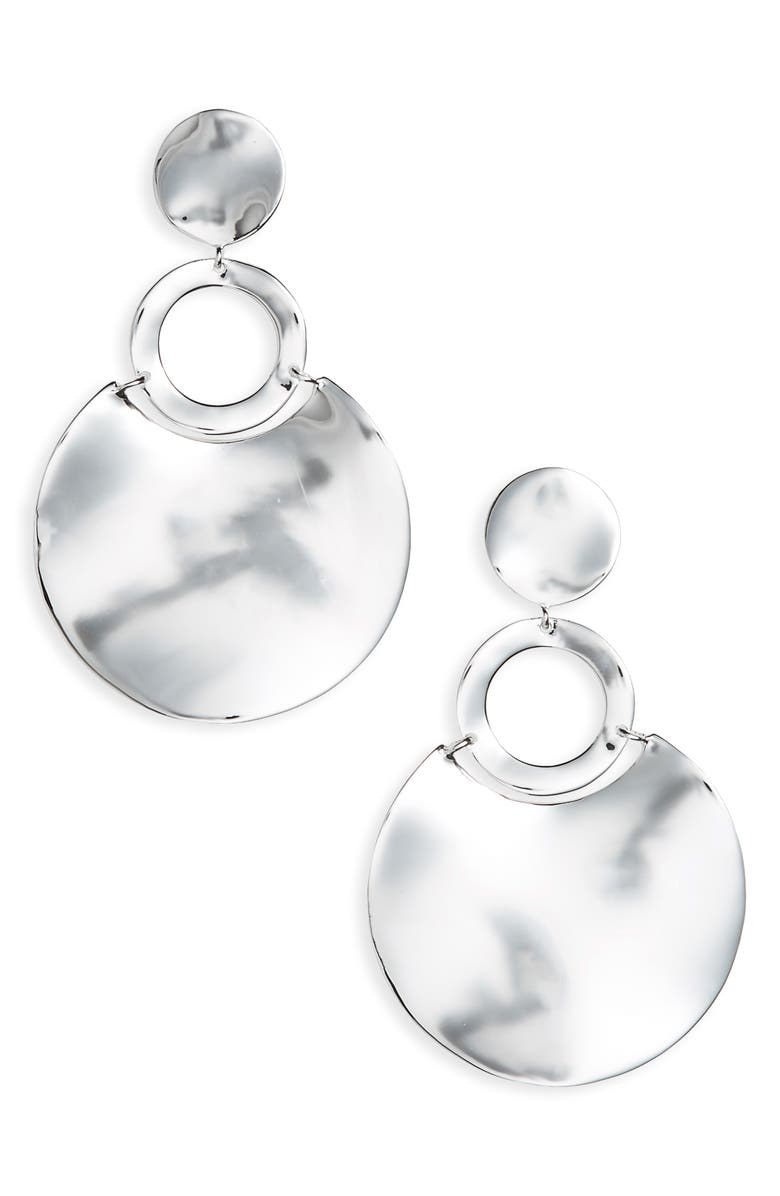 IPPOLITA Classico Wavy Disc Drop Earrings, Main, color, SILVER