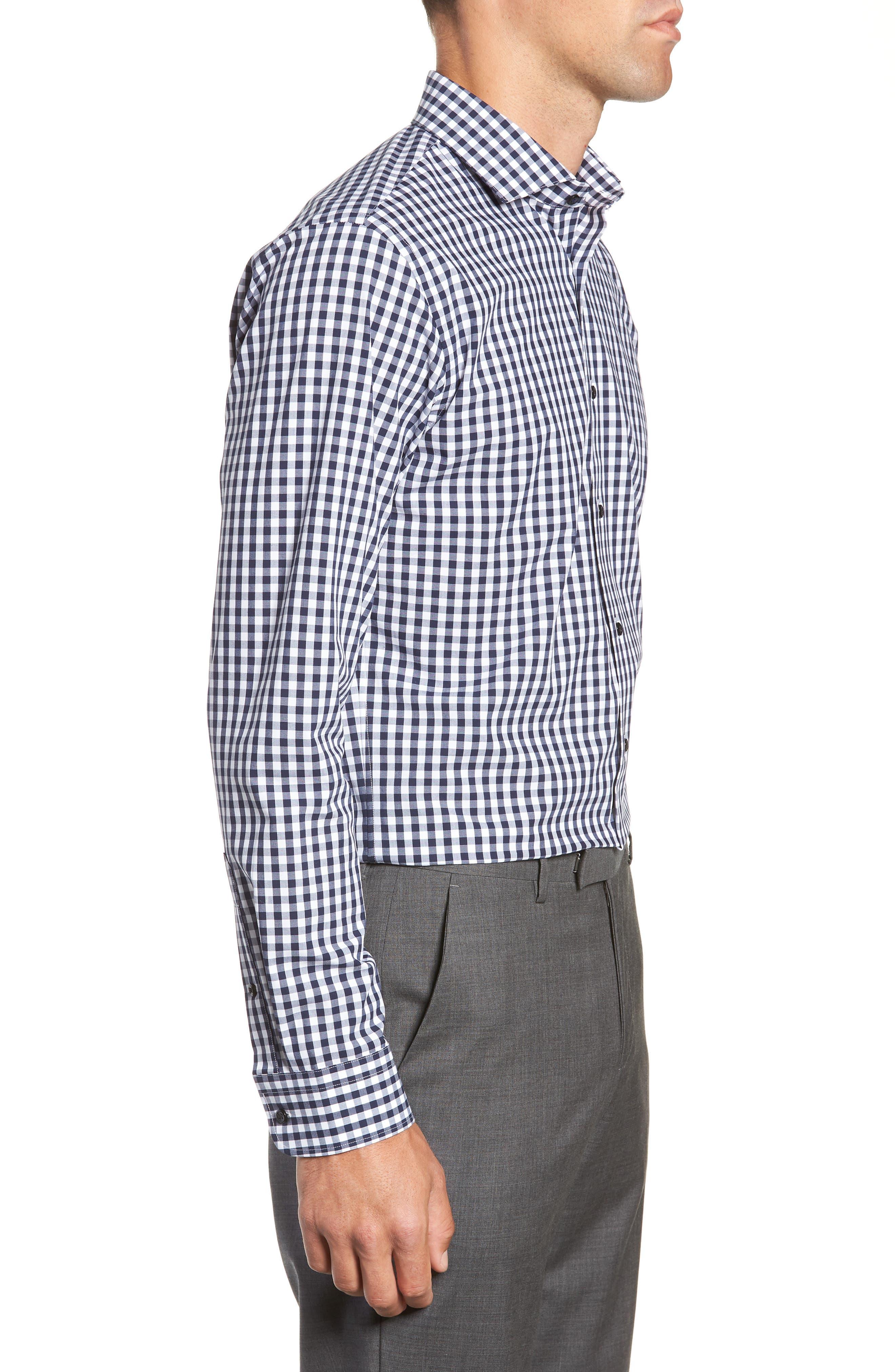 ,                             Tech-Smart Trim Fit Stretch Check Dress Shirt,                             Alternate thumbnail 18, color,                             401