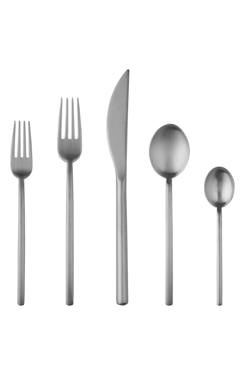 MEPRA Due 5-Piece Place Setting, Main, color, MATTE STAINLESS STEEL SILVER