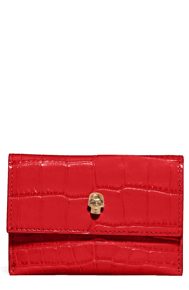 ALEXANDER MCQUEEN Croc Embossed Leather Card Holder, Main, color, DEEP RED