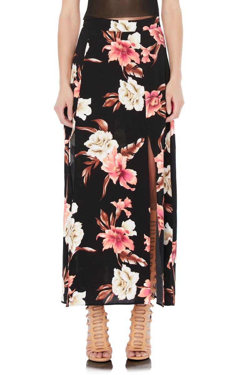 AFRM Tulum Floral Side Slit Midi Skirt, Main, color, NOIR TROPICAL