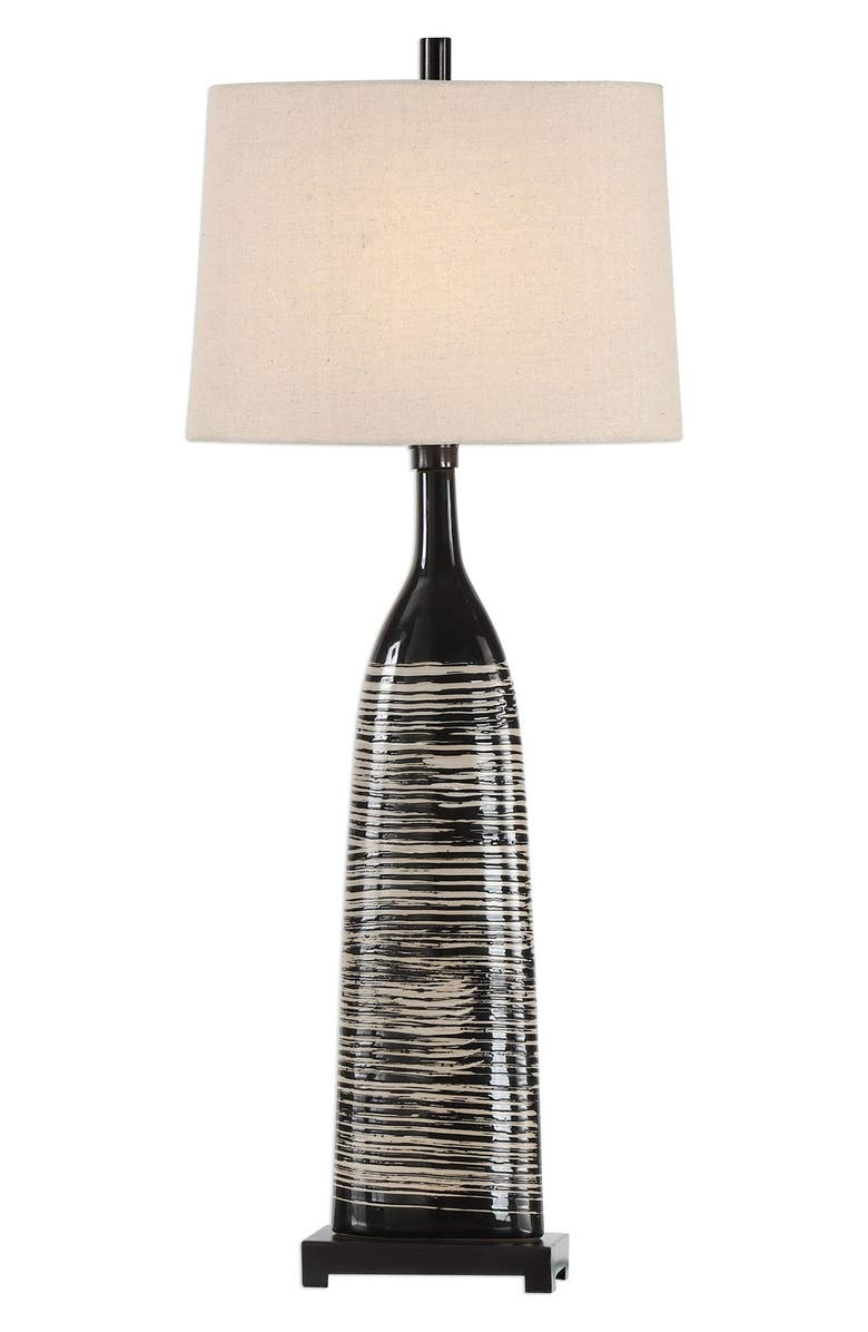 UTTERMOST Kanza Table Lamp, Main, color, BLACK/ BEIGE SHADE