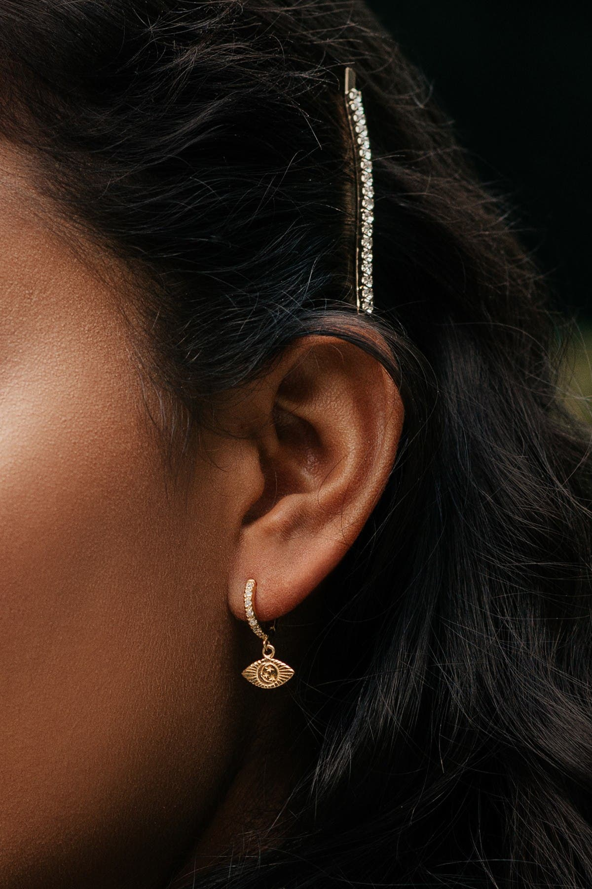 Sterling Forever 14K Gold Plated Sterling Silver CZ Starry Nights Micro Hoop Earrings
