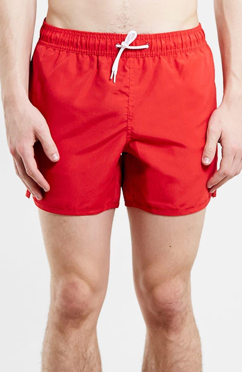 TOPMAN Red Swim Trunks, Main, color, 600