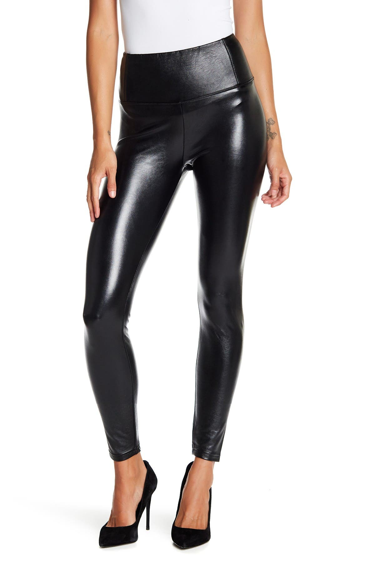 Image of Love, Fire Faux Leather Stretch Leggings