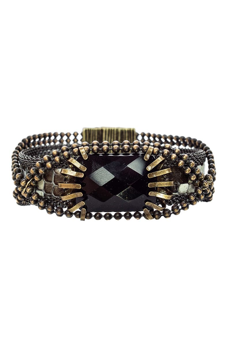 CYNTHIA DESSER Stone & Snakeskin Bracelet, Main, color, BLACK/ BRONZE