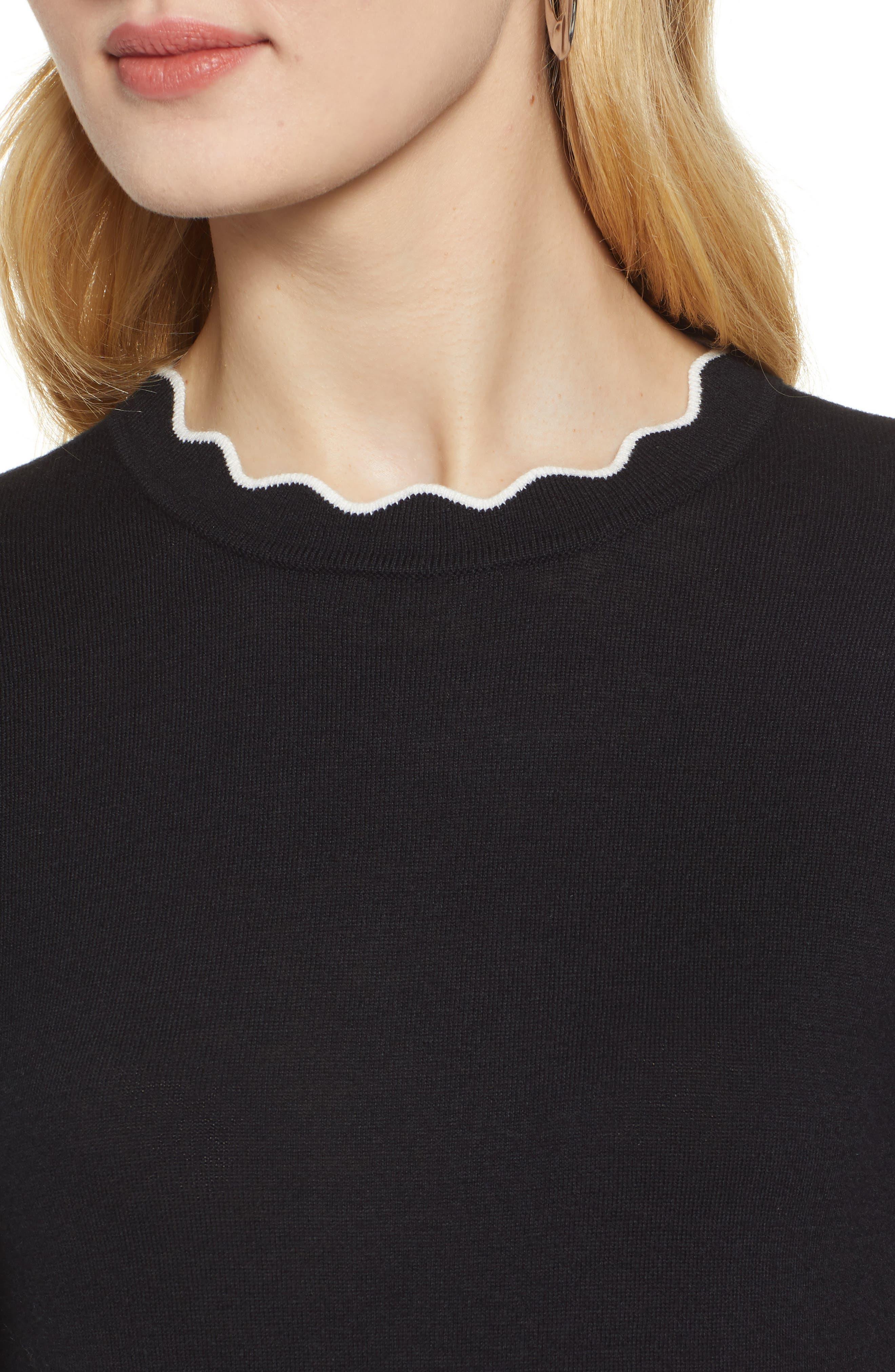 ,                             Scallop Neck Sweater,                             Alternate thumbnail 10, color,                             001