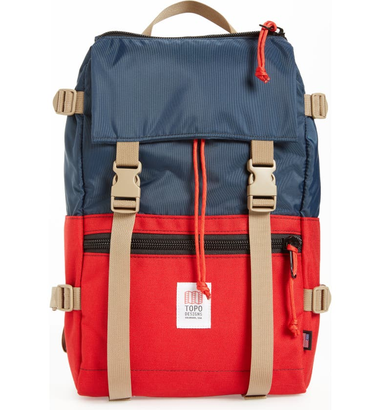 TOPO DESIGNS 'Rover' Backpack, Main, color, NAVY/ RED