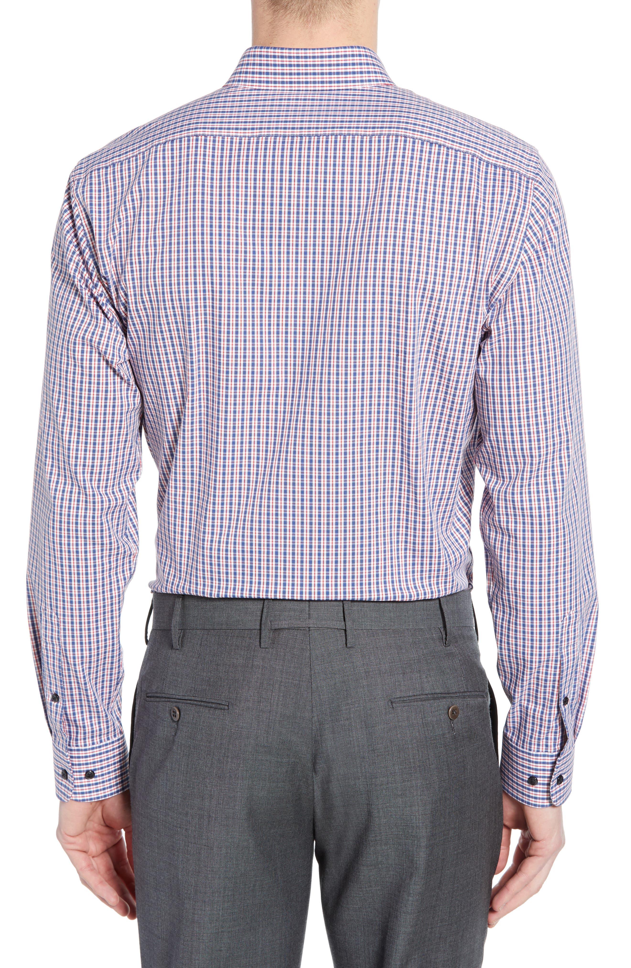 ,                             Tech-Smart Trim Fit Stretch Check Dress Shirt,                             Alternate thumbnail 3, color,                             RED RIBBON
