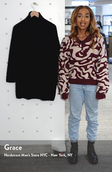 Textured Scrunch Neck Organic Cotton Tunic Sweater, sales video thumbnail