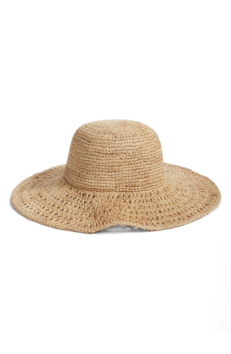 NORDSTROM Open Weave Raffia Floppy Brim Hat, Main, color, NATURAL COMBO