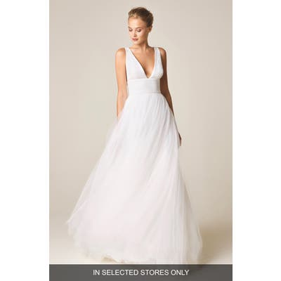 Jesus Peiro V-Neck Wedding Dress With Tulle Skirt, Size IN STORE ONLY - White
