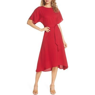 Charles Henry Dolman Sleeve Crepe Midi Dress, Red