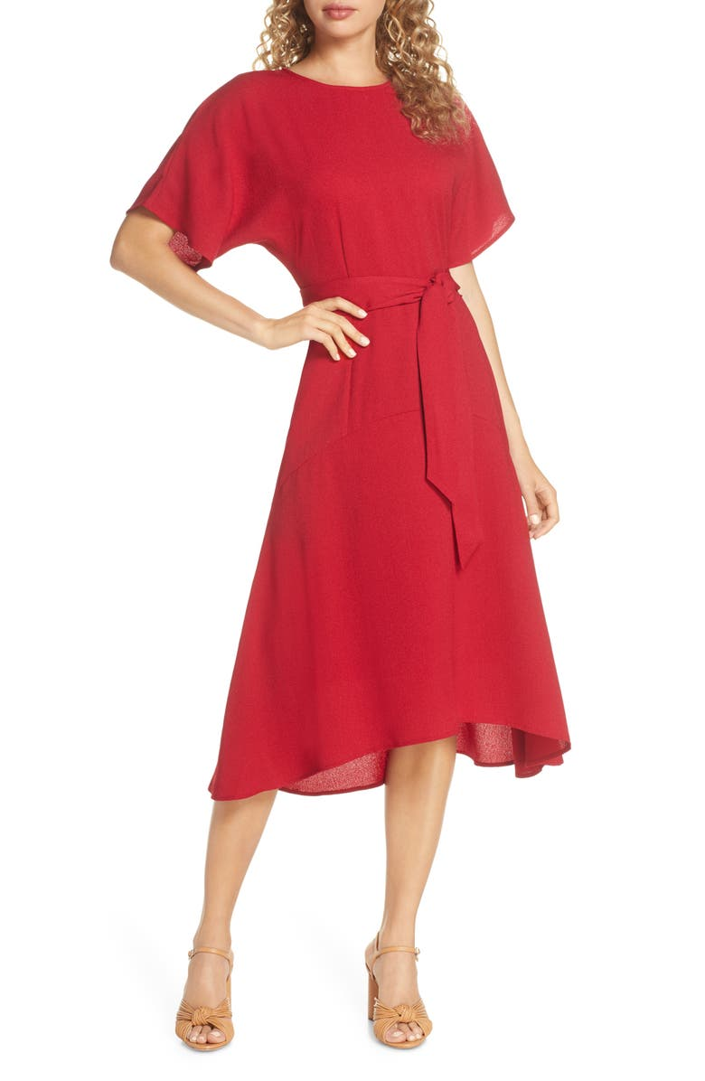 CHARLES HENRY Dolman Sleeve Crepe Midi Dress, Main, color, GARNET