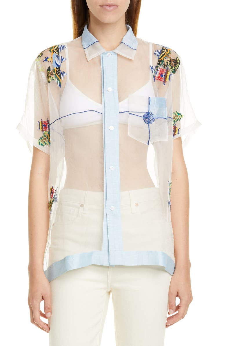 BODE Pagoda Scene Sheer Silk Organza Shirt, Main, color, LIGHT BLUE