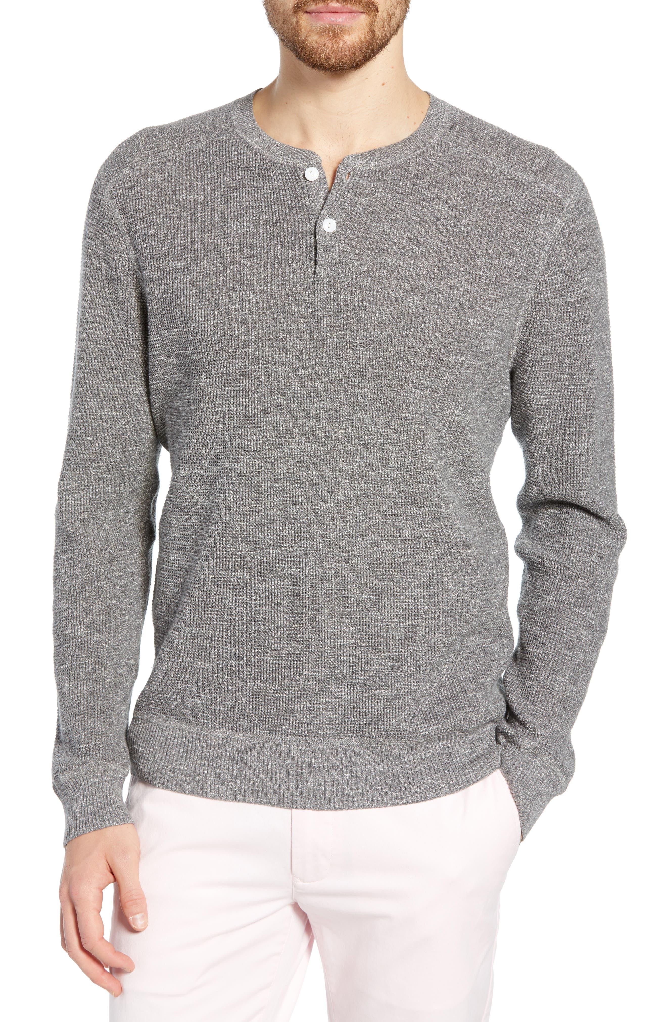 Bonobos Cotton & Linen Slim Fit Henley Sweater, Grey
