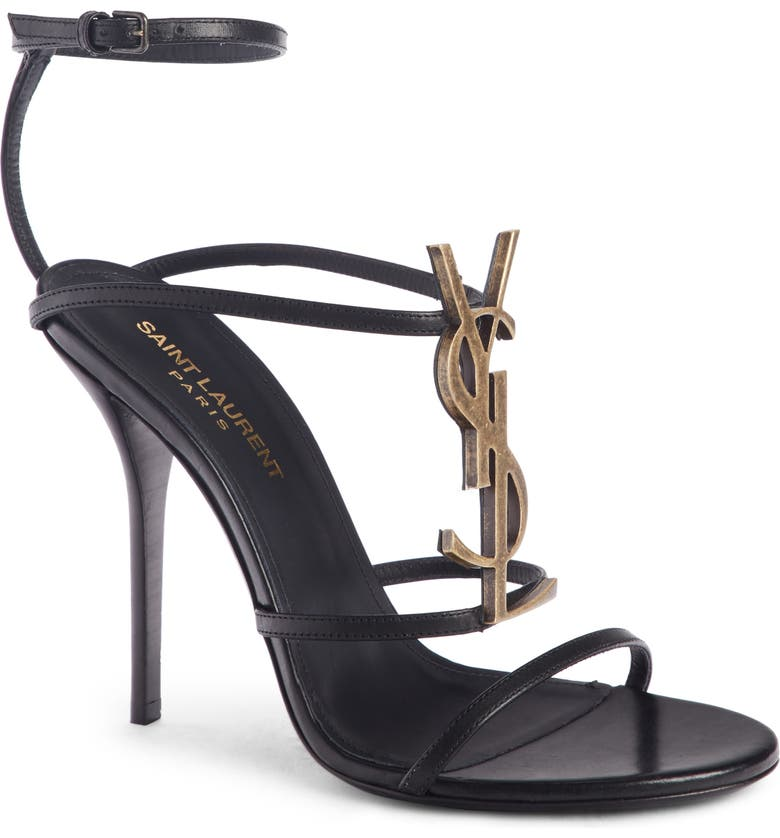 SAINT LAURENT Cassandra YSL Strappy Sandal, Main, color, BLACK/ GOLD