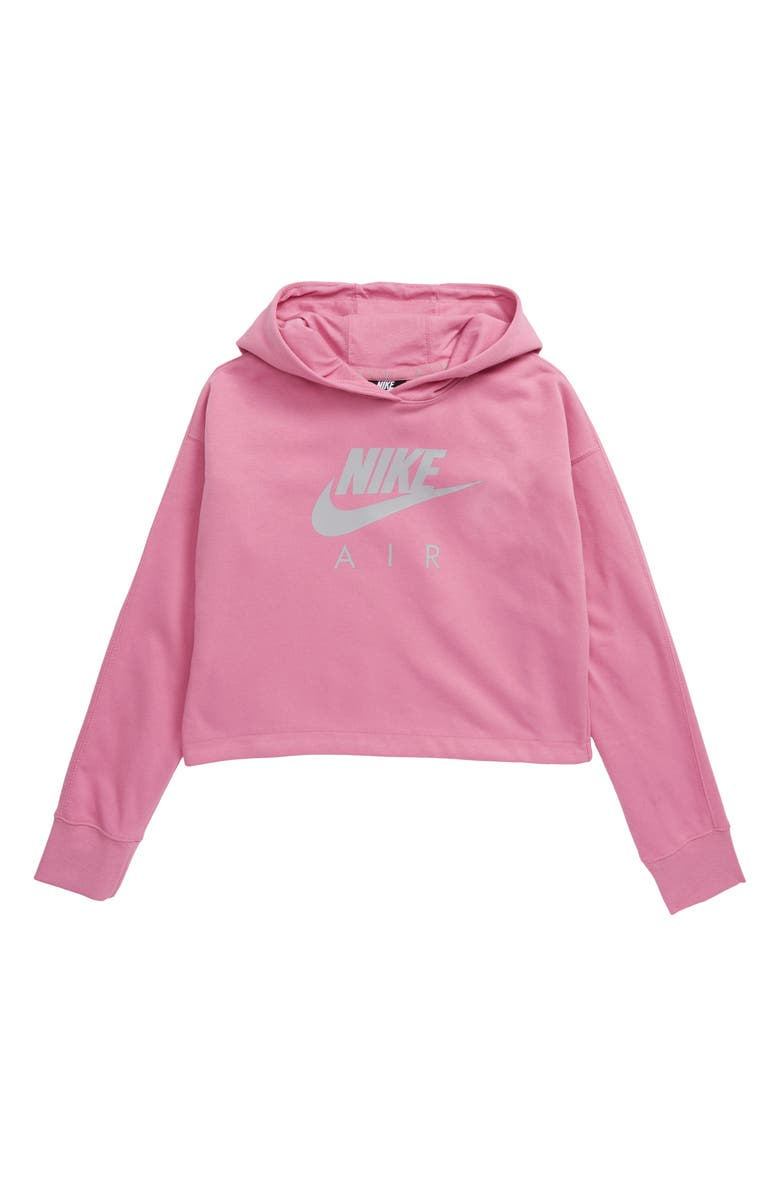 NIKE Sportswear Air Logo Crop Hoodie, Main, color, MAGIC FLAMINGO/ LT SMOKE GREY