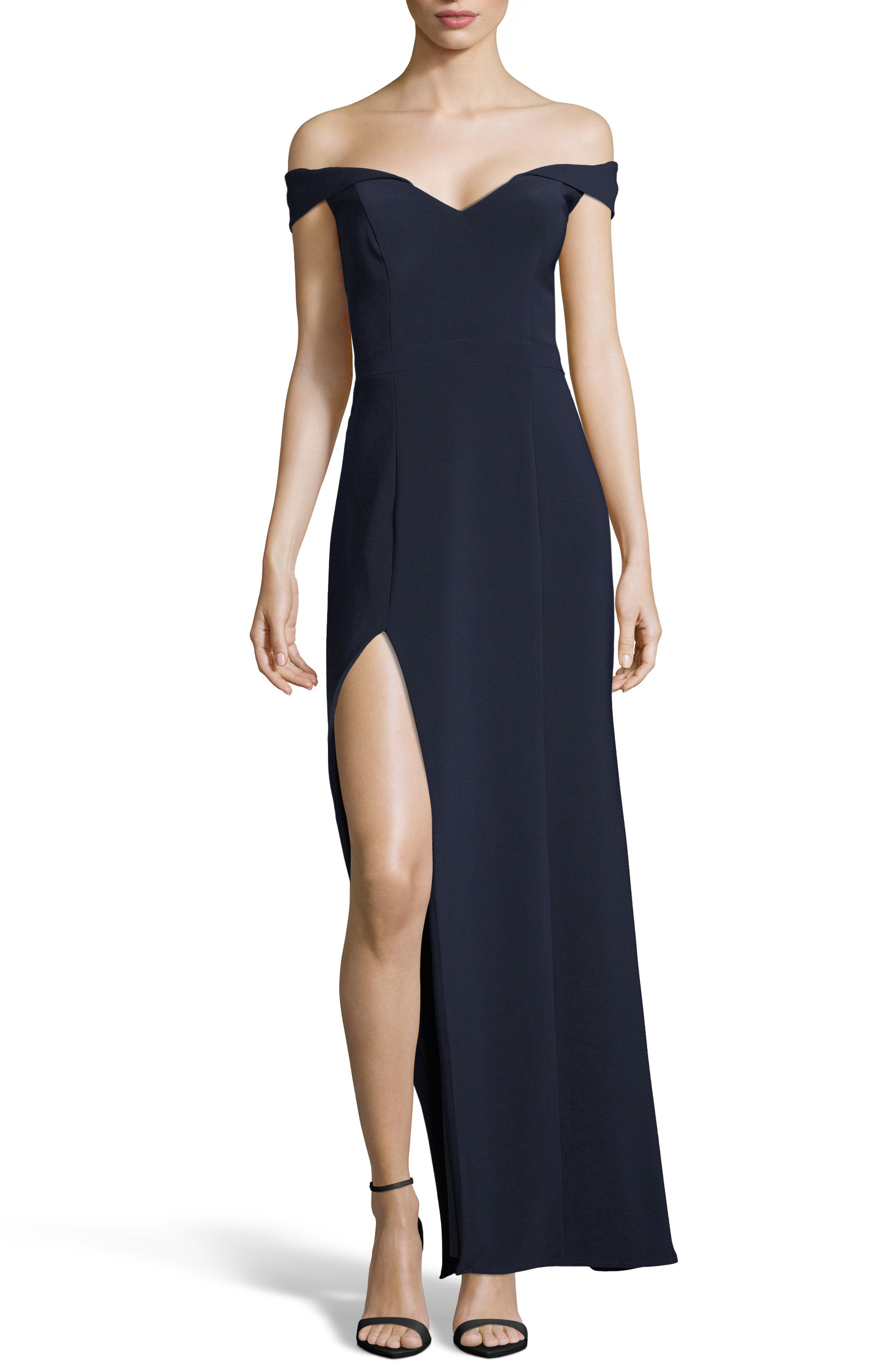 Xscape Off The Shoulder Jersey Gown, Blue